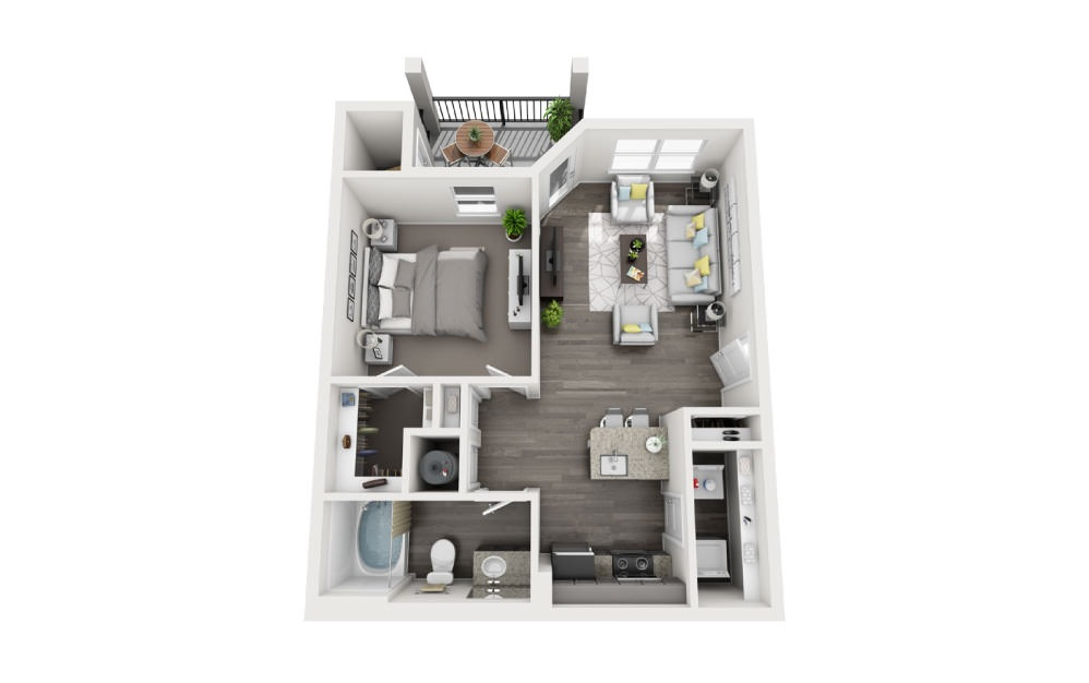A-1 - 1 bedroom floorplan layout with 1 bath and 684 square feet.