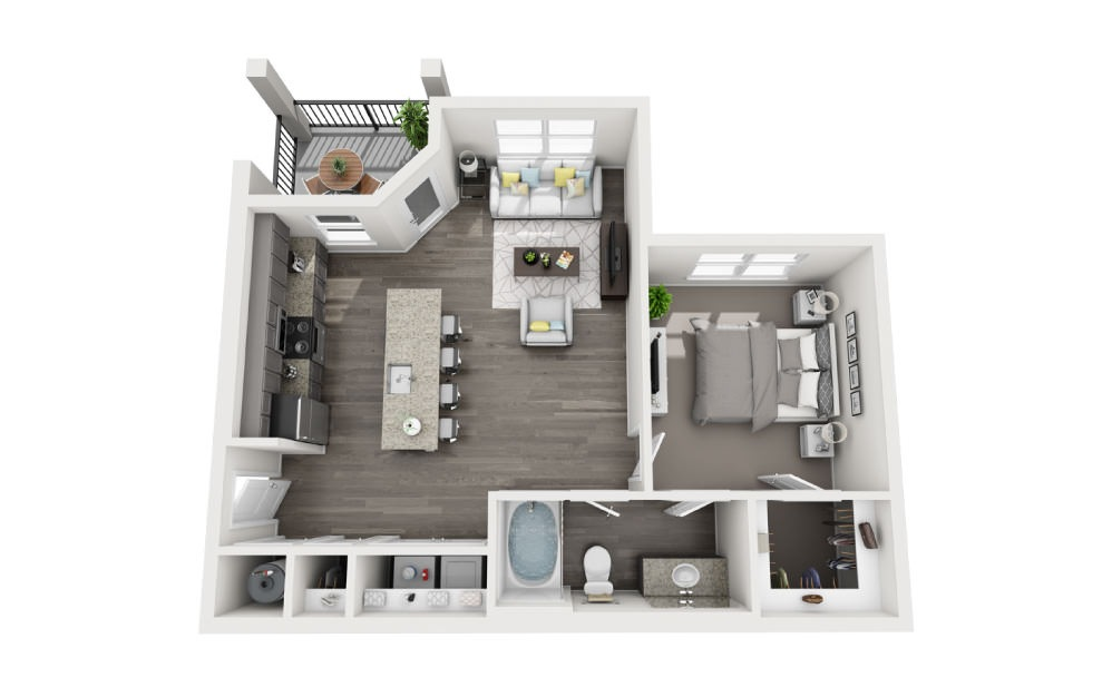 A-2 - 1 bedroom floorplan layout with 1 bath and 816 square feet.