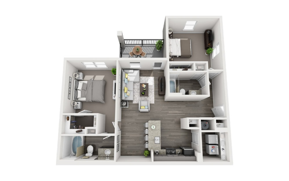 B-1 - 2 bedroom floorplan layout with 2 baths and 1105 square feet.