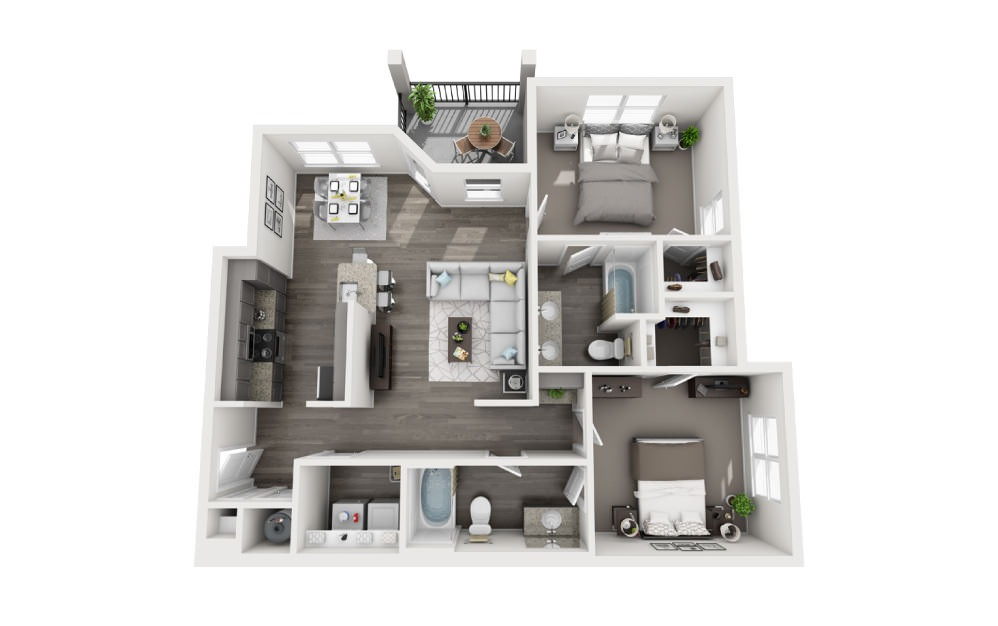 B-2 - 2 bedroom floorplan layout with 2 baths and 1169 square feet.