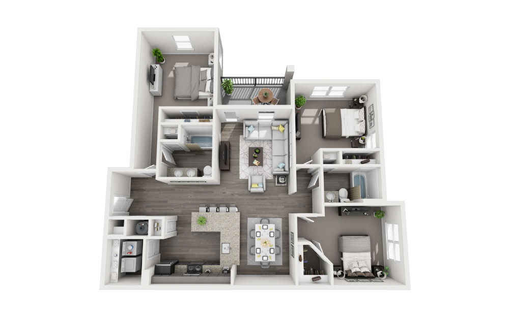 C-1 - 3 bedroom floorplan layout with 2 baths and 1410 square feet.
